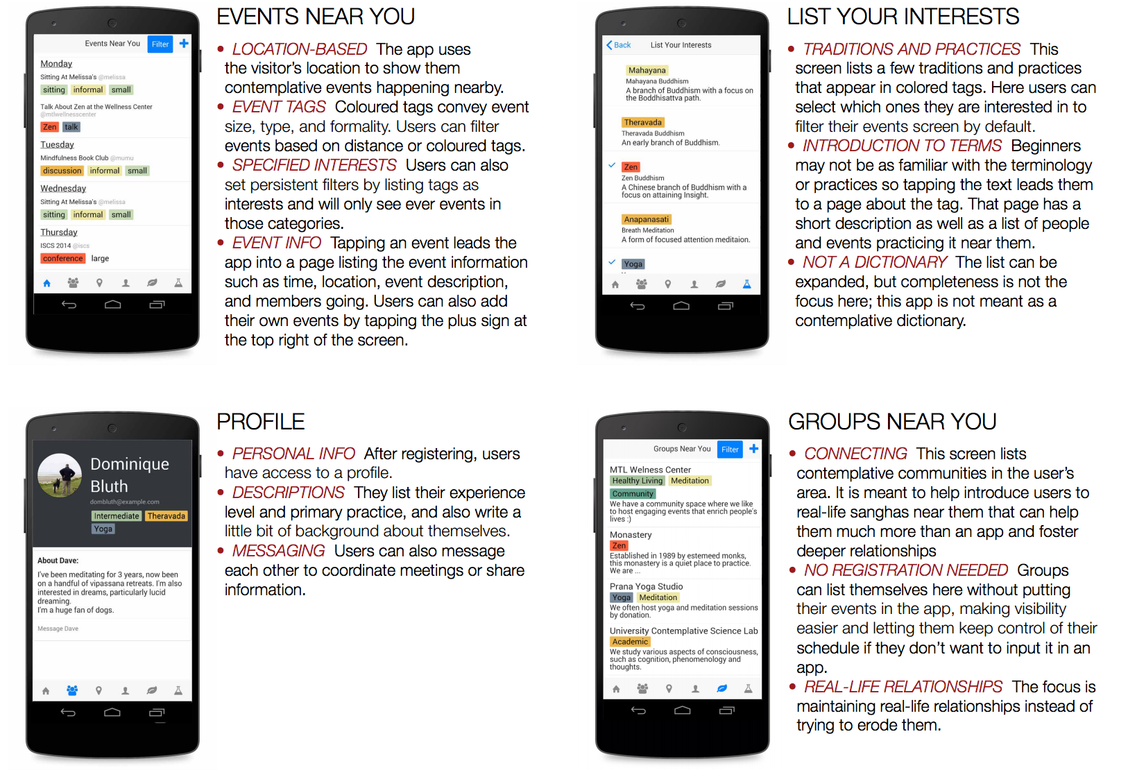 Four screenshots of the pocketsangha application